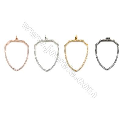 Brass Micro Pave Cubic Zirconia Pendants  Arrow Sign  (Gold  White Gold  Rose Gold  Gun Black) Plated  Size 25x36mm  x12pcs/pack