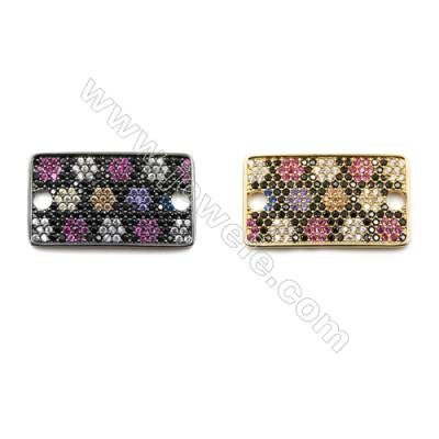 Brass Micro Pave Cubic Zirconia Charms  Rectangle  (Gold  Gun Black) Plated  Hole 3mm  Size 16x27mm  x6pcs/pack