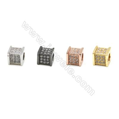 Brass Micro Pave Cubic Zirconia Charms  Cube  (Gold  White Gold  Rose Gold  Gun Black) Plated  Hole 3mm  Size 6x7mm  x20pcs/pack