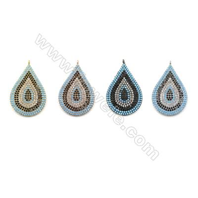 Brass Micro Pave Cubic Zirconia Pendants  Teardrop  (Gold  White Gold  Rose Gold  Gun Black) Plated  Size 20x29mm  x3pcs/pack
