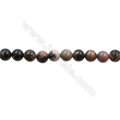 "Natural Black Striped Rhodochrosite Bead Strands  Round  Diameter 10mm  Hole 1mm  15~16""x1strand"