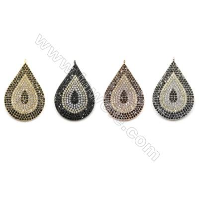 Brass Micro Pave Cubic Zirconia Pendants  Teardrop  (Gold  White Gold  Rose Gold  Gun Black) Plated  Size 20x29mm  x4pcs/pack