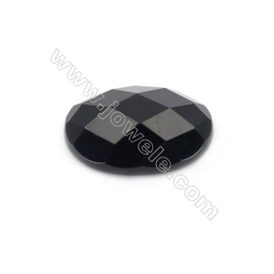 Natural Faceted Black Agate Cabochons  Oval  Size 10x14mmx10pcs/pack