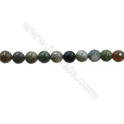 "Natural Indian Agate Bead Strands  Round(Faceted)  Diameter 8mm  Hole 1mm  15~16""x1strand"