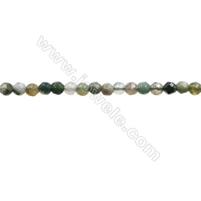 "Natural Indian Agate Bead Strands  Round(Faceted)  Diameter 4mm  Hole 0.7mm  15~16""x1strand"