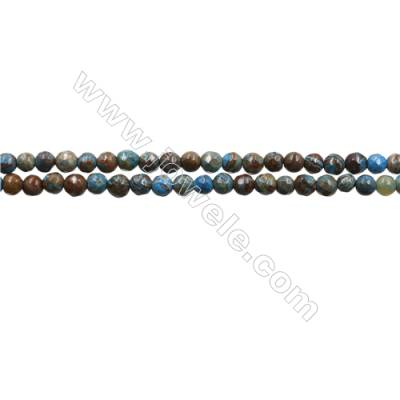 "Natural Flower Agate Bead Strands  Round(Faceted)  Diameter 3mm  Hole 0.6mm  15~16""x1strand"