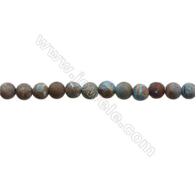 "Natural Flower Agate Matte Bead Strands  Round  Diameter 6mm  Hole 0.8mm  15~16""x1strand"