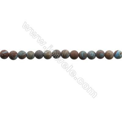 "Natural Flower Agate Matte Bead Strands  Round  Diameter 4mm  Hole 0.6mm  15~16""x1strand"