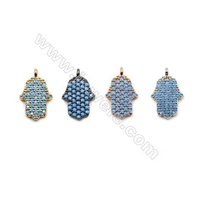 Brass Micro Pave Cubic Zirconia Pendants  Hand  (Gold  White Gold  Rose Gold  Gun Black) Plated  Size 8x10mm  x10pcs/pack