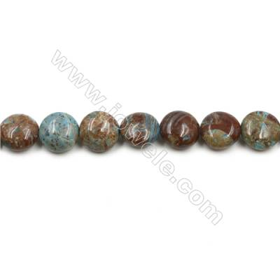 "Natural Flower Agate Bead Strands  Flat Round  Diameter 12mm  Hole 1mm  15~16""x1strand"