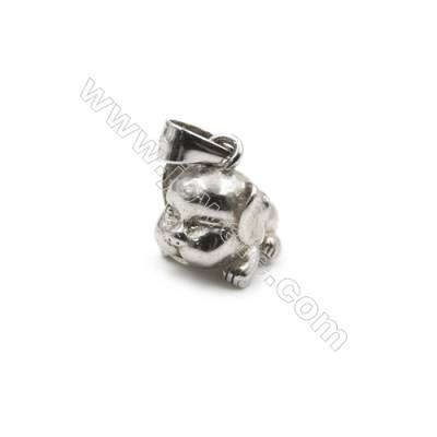 Genuine 925 Sterling silver platinum plated pendant findings-D5814  11x9mm x 5pcs hole 4x6mm  pin 0.6mm