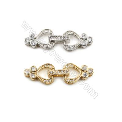 Brass Micro Pave Cubic Zirconia Clasps  (Gold  White Gold) Plated  Size 10x32mm  x10pcs/pack