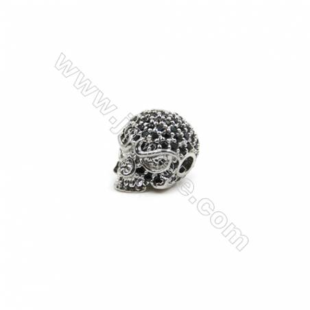 Brass Pave Cubic Zirconia Charms  Skull  Hole 2mm  Size 9x11mm  x8pcs/pack  (Gold White Gold Rose Gold Gun Black) Plated