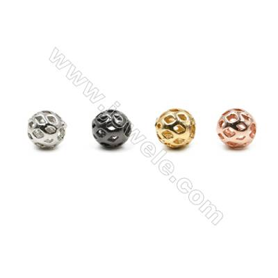 Brass Pave Cubic Zirconia Beads, Hollow Ball, Hole 1.5mm, Diameter 6mm, x50pcs/pack