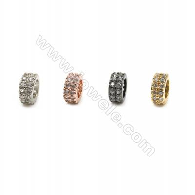 Brass Pave Cubic Zirconia Charms  Column  Hole 4mm  Size 4x7mm  x20pcs/pack  (Gold White Gold Rose Gold Gun Black) Plated