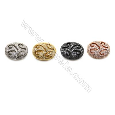 Brass Pave Cubic Zirconia Beads, Hollow Oval, Hole 1mm, Size 14x17mm, x8pcs/pack