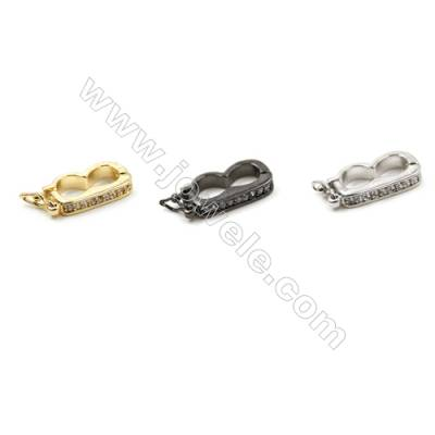 Brass Micro Pave Cubic Zirconia Clasps  (Gold  White Gold  Gun Black) Plated  Size 8x15mm  x30pcs/pack