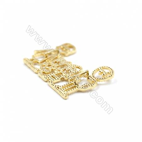 Brass Micro Pave Cubic Zirconia Charms  Family  (Gold  White Gold  Rose Gold  Gun Black) Plated  Size 29x49mm  x3pcs/pack