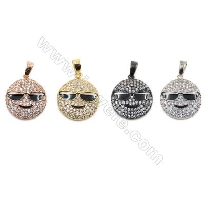 Brass Pave Cubic Zirconia Pendants  Emoji  Diameter 15mm  x10pcs/pack  (Gold White Gold Rose Gold Gun Black) Plated