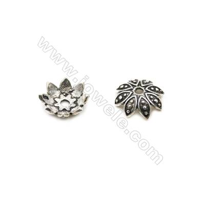 Thai Sterling Silver Flower Bead Caps  8-Petal  Size 12x4.1mm  Hole 1.5mm  20pcs/pack