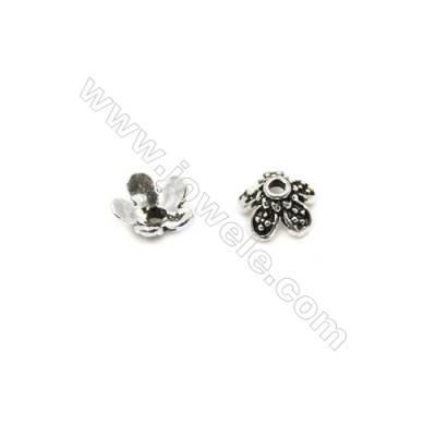 Thai Sterling Silver Flower Bead Caps  5-Petal  Size 7.5x4mm  Hole 0.8mm  50pcs/pack