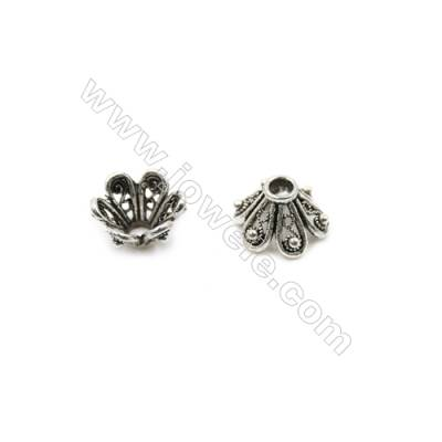 Thai Sterling Silver Flower Bead Caps  6-Petal  Size 13x8.3mm  Hole 3.5mm  10pcs/pack