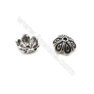 Thai Sterling Silver Flower Bead Caps  6-Petal  Size 7.5x3.9mm  Hole 0.8mm  50pcs/pack