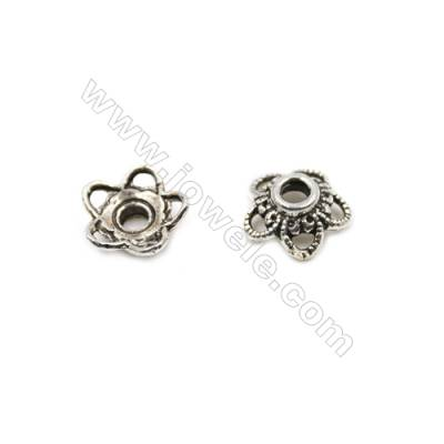Thai Sterling Silver Flower Bead Caps  5-Petal  Size 10.5x4.3mm  Hole 2.5mm  20pcs/pack