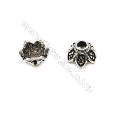 Thai Sterling Silver Flower Bead Caps  6-Petal  Size 6.5x4.5mm  Hole 1.5mm  40pcs/pack