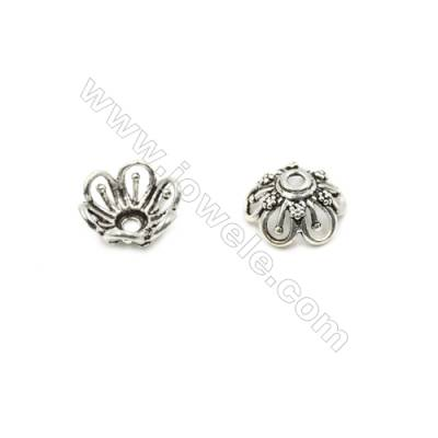Thai Sterling Silver Flower Bead Caps  6-Petal  Size 14x6.5mm  Hole 1.5mm  10pcs/pack