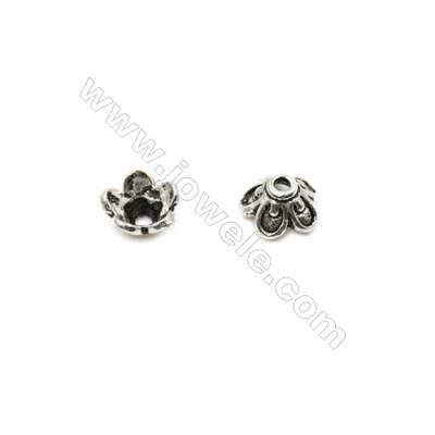 Thai Sterling Silver Flower Bead Caps  5-Petal  Size 7.5x4.5mm  Hole 0.8mm  40pcs/pack