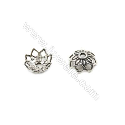 Thai Sterling Silver Flower Bead Caps  8-Petal  Size 12.5x5.5mm  Hole 1.4mm  20pcs/pack