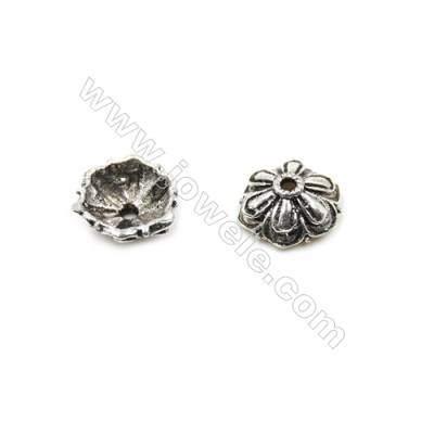 Thai Sterling Silver Flower Bead Caps  6-Petal  Size 9.5x4.3mm  Hole 0.8mm  20pcs/pack