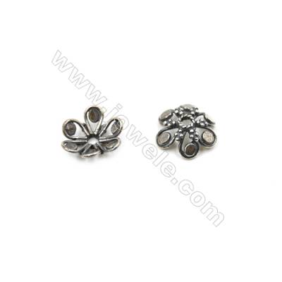 Thai Sterling Silver Flower Bead Caps  6-Petal  Size 13.5x4.5mm  Hole 1.3mm  20pcs/pack