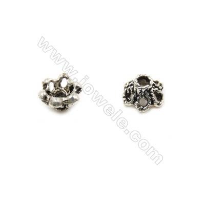 Thai Sterling Silver Flower Bead Caps  6-Petal  Size 5.5x3.8mm  Hole 1mm  80pcs/pack