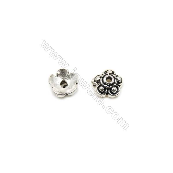Thai Sterling Silver Flower Bead Caps  5-Petal  Size 7x3.2mm  Hole 0.8mm  50pcs/pack