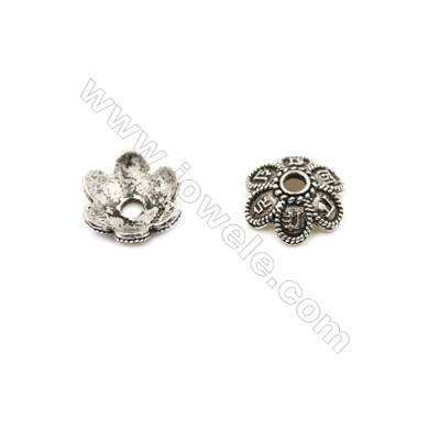 Thai Sterling Silver Flower Bead Caps  6-Petal  Size 10.5x3.7mm  Hole 1.4mm  40pcs/pack