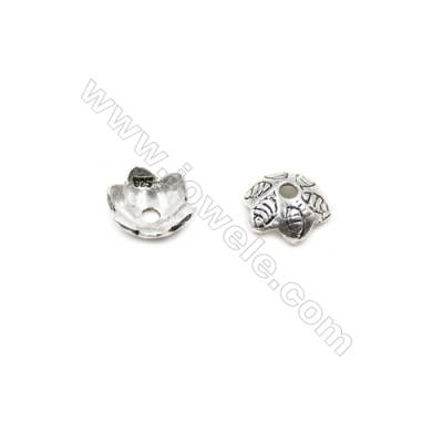 Thai Sterling Silver Flower Bead Caps  6-Petal  Size 9.5x3.5mm  Hole 1.1mm  40pcs/pack