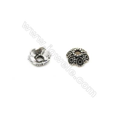 Thai Sterling Silver Flower Bead Caps  6-Petal  Size 7.5x3.4mm  Hole 1.2mm  50pcs/pack