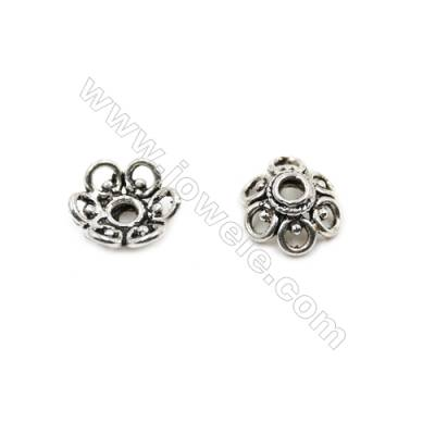 Thai Sterling Silver Flower Bead Caps  6-Petal  Size 13x5.5mm  Hole 3mm  10pcs/pack