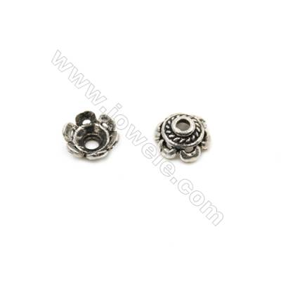 Thai Sterling Silver Flower Bead Caps  6-Petal  Size 7x3.5mm  Hole 0.9mm  50pcs/pack