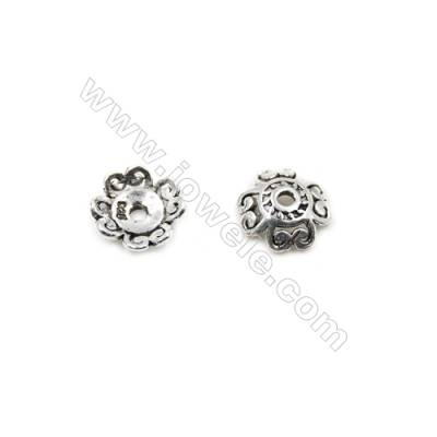Thai Sterling Silver Flower Bead Caps  4-Petal  Size 9x3mm  Hole 0.9mm  40pcs/pack