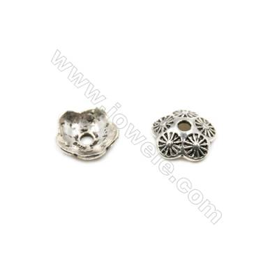 Thai Sterling Silver Flower Bead Caps  5-Petal  Size 13.5x4.3mm  Hole 2mm  20pcs/pack
