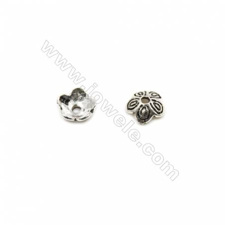 Thai Sterling Silver Flower Bead Caps  5-Petal  Size 6.5x2.7mm  Hole 1.2mm  60pcs/pack