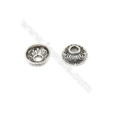 Thai Sterling Silver Bead Caps  Hollow Semicircle  Size 13.5x5.2mm  Hole 3.5mm  12pcs/pack