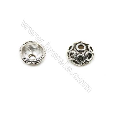 Thai Sterling Silver Bead Caps  Hollow Semicircle  Size 6.5x3.4mm  Hole 1mm  50pcs/pack