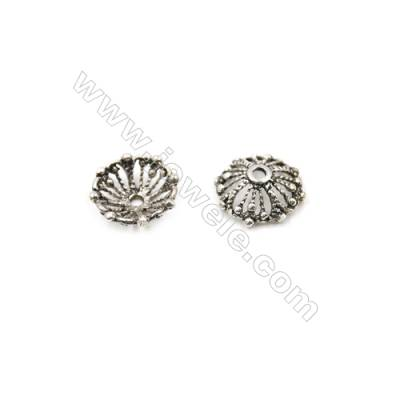 Thai Sterling Silver Flower Bead Caps  Hollow Flower  Size 13x4.6mm  Hole 1.5mm  20pcs/pack