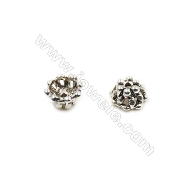 Thai Sterling Silver Bead Caps  Hollow Flower  Size 9x4.6mm  Hole 1mm  20pcs/pack