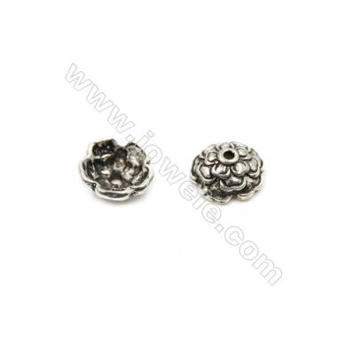 Thai Sterling Silver Flower Bead Caps  5-Petal  Size 8.5x4mm  Hole 1mm  40pcs/pack