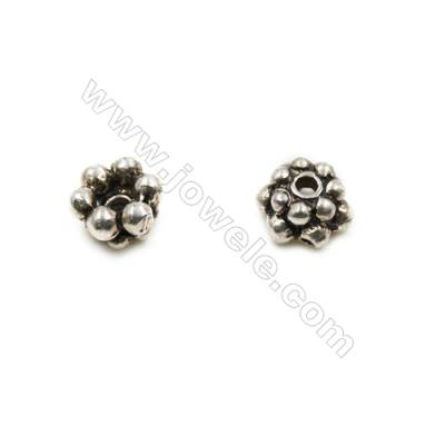 Thai Sterling Silver Flower Bead Caps  Size 5.5x3.5mm  Hole 1mm  40pcs/pack